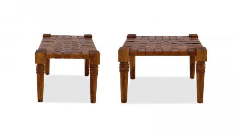 Lot de 2 tabourets en bois et cuir – Collection Buff
