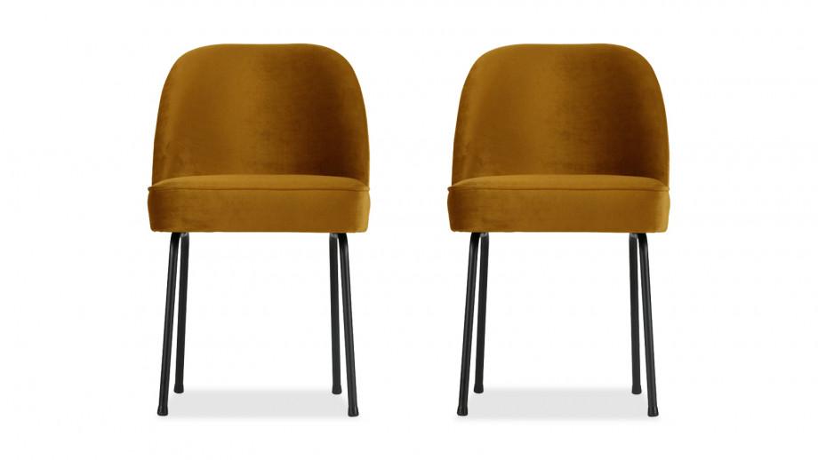 Chaise en velours moutarde – Collection Vogue