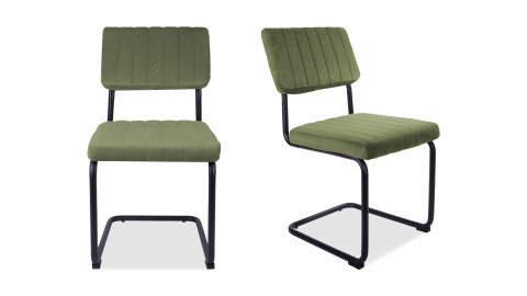 Lot de 2 chaises en velours vert gazon - Collection Keen - Leitmotiv