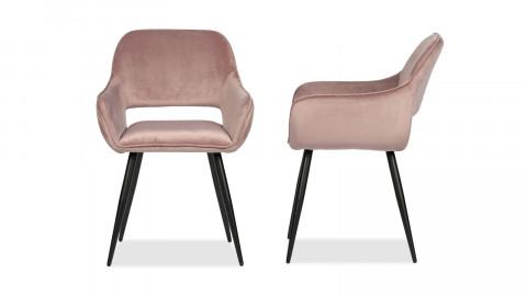 Lot de 2 chaises avec accoudoirs en velours rose - Collection Jelle - Woood