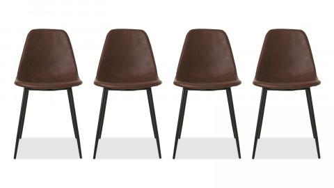 Lot de 4 chaises en simili cuir marron piètement en métal noir - Collection Found