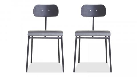 Lot de 2 chaises écolier en bois noir piètement en métal noir - Collection School - House Doctor