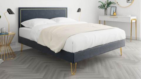 Lit adulte 140x190cm en velours gris anthracite avec tête de lit à liseré et sommier à lattes - Collection Lou