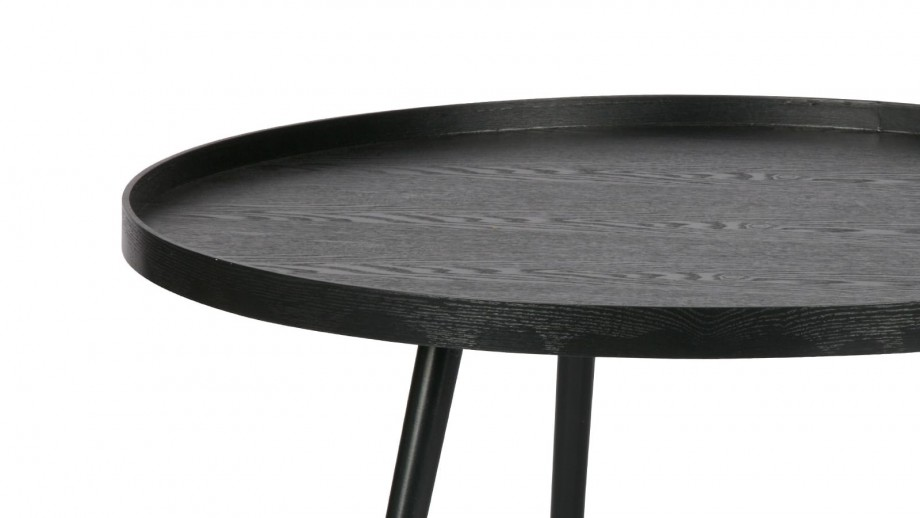 Table basse ronde en bois noir, 39x78x78cm - Collection Mesa