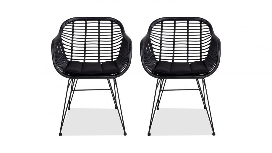 Lot de deux chaises en rotin noir avec accoudoirs - Collection Trieste - House Nordic