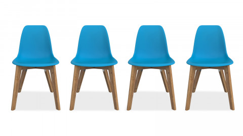 SUZY Lot de 4 chaises de jardin bleu canard
