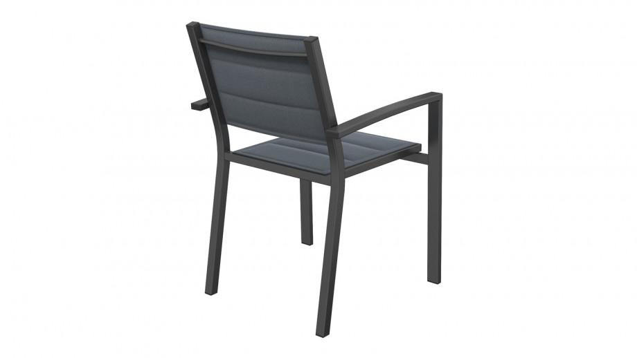 TONY Lot de 6 fauteuils de jardin noirs