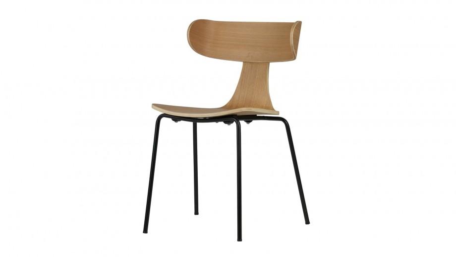Lot de 2 chaises en bois de frêne naturel, piètement en métal - Collection Form