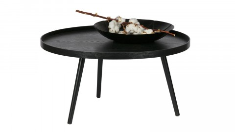 Table basse ronde en bois noir, 34x60x60cm - Collection Mesa
