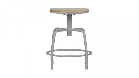 Lot de 2 tabourets assise en bois et pieds en métal couleur piètement gris béton - Collection Emiel