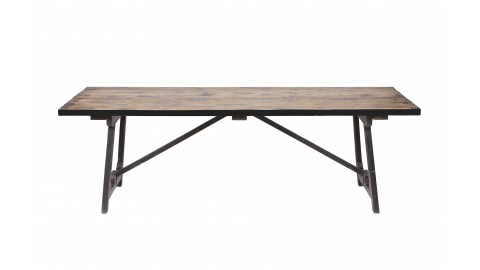 Table à manger en pin massif noir 190x90, piètement en bois - Collection Craft