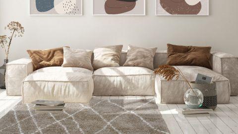 Tapis de couloir moderne shaggy beige 80x140cm - Collection Liam