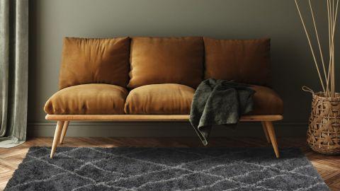 Tapis de couloir moderne shaggy gris 80x140cm - Collection Liam