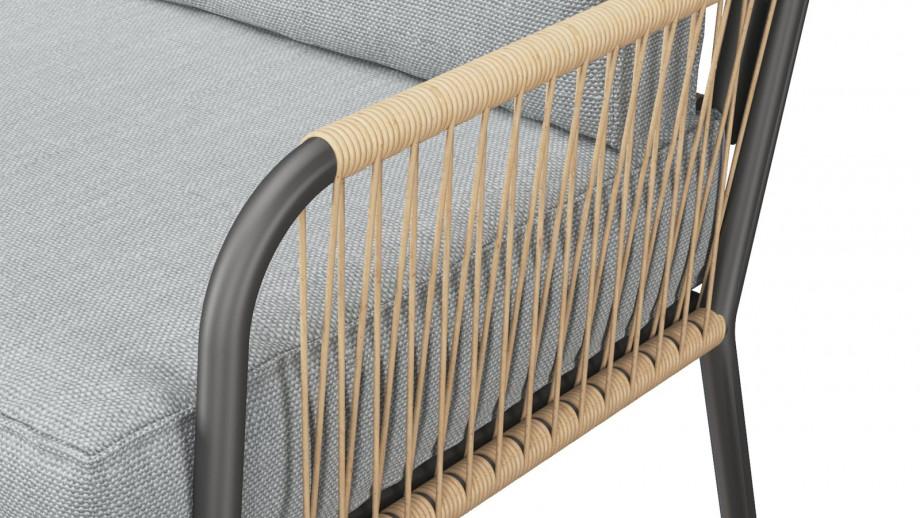 Salon de jardin 4 places avec 2 tables basses structure en aluminium et corde en résine - Collection Tonia
