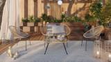 Salon de jardin bas 4 places en résine et structure acier galvanisé - Collection Norma - ELLE DÉCORATION