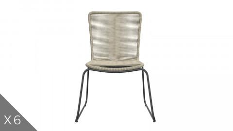 Lot de 6 chaises de jardin tressées couleur naturel - Collection Erin