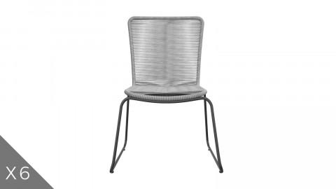 Lot de 6 chaises de jardin tressées couleur gris - Collection Erin