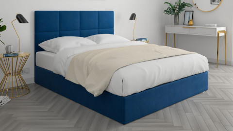 Lit adulte 160x200cm en velours bleu nuit avec tête de lit carrée capitonnée et sommier à lattes - Collection Emy