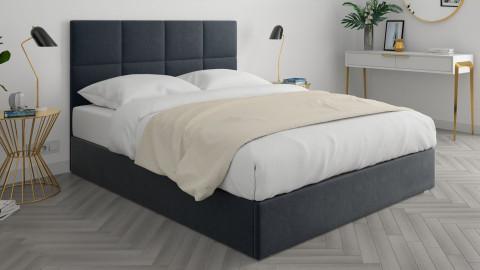 Lit adulte 140x190cm en velours gris anthracite avec tête de lit carrée capitonnée et sommier à lattes - Collection Emy