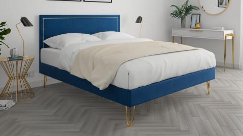Lit adulte 160x200cm en velours bleu nuit avec tête de lit à liseré et sommier à lattes - Collection Lou