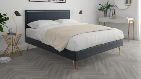Lit adulte 160x200cm en velours gris anthracite avec tête de lit à liseré et sommier à lattes - Collection Lou