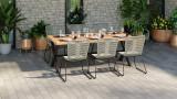 Lot de 6 chaises de jardin en acier galvanisé et corde naturel - Collection Erin