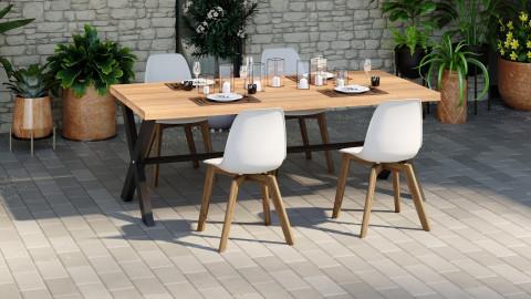 Lot de 4 chaises de jardin scandinave coloris blanc avec pied en bois massif - Collection Suzy