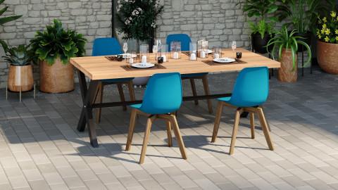 Lot de 4 chaises de jardin scandinave coloris bleu avec pied en bois massif - Collection Suzy