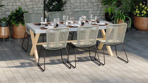 Ensemble table de jardin 6 à 8 places en fibre de ciment Robin + 6 chaises acier galvanisé et corde naturel Erin