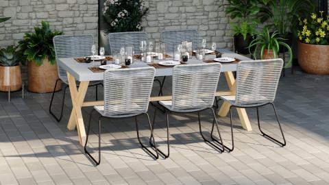 Ensemble table de jardin 8 places en fibre de ciment Robin + 6 chaises acier galvanisé et corde grises Erin