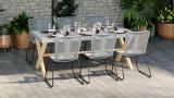 Ensemble table de jardin 6 à 8 places en fibre de ciment Robin + 6 chaises acier galvanisé et corde grises Erin