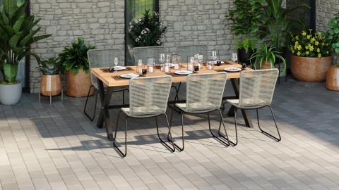 Ensemble table de jardin 8 personnes en bois d'acacia James + 6 chaises acier galvanisé et corde naturel Erin