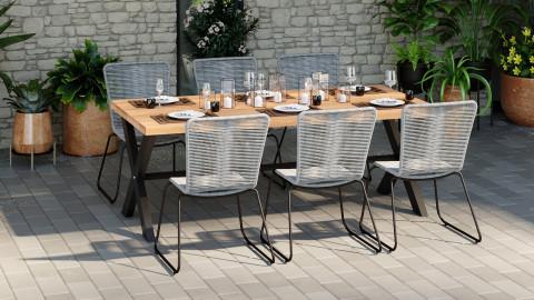 Ensemble table de jardin 8 personnes en bois d'acacia James + 6 chaises acier galvanisé et corde grises Erin