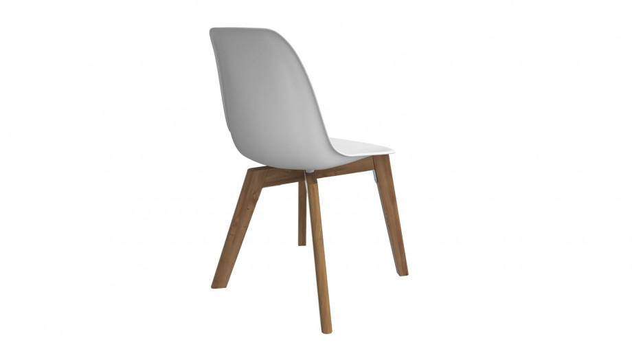 Ensemble table de jardin 8 personnes en bois d'eucalyptus Lyam + 4 chaises scandinaves blanches avec pieds en bois massif Suzy
