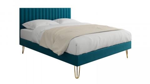 Lit adulte scandinave 140x190cm en velours bleu canard avec tête de lit matelassée et sommier à lattes - Collection Eliot