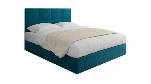 Lit adulte 160x200cm en velours bleu canard avec tête de lit carrée capitonnée et sommier à lattes - Collection Emy