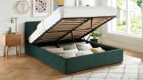 Lit coffre 160x200 en velours vert avec tête de lit et sommier à lattes - Collection Tina
