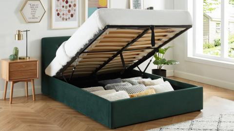 Lit coffre 140x190 en velours vert avec tête de lit et sommier à lattes - Collection Tina