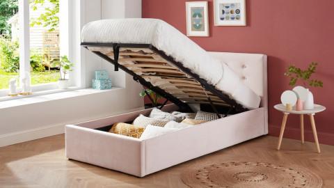 Lit coffre enfant 90x190 en velours rose poudré avec tête de lit, sommier à lattes et rangement - Collection Tina