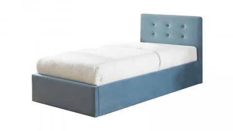 Lit coffre simple 90x190 en velours bleu avec tête de lit et sommier à lattes - Collection Tina