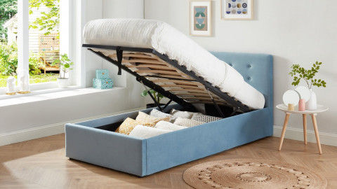 Lit coffre enfant 90x190 en velours bleu avec tête de lit, sommier à lattes et rangement - Collection Tina