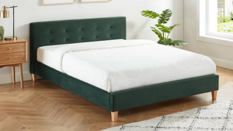 Lit adulte avec tête de lit capitonnée en velours vert bouteille - sommier à lattes 140x190cm - Collection Milo