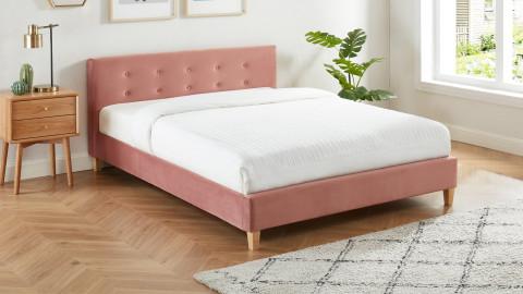 Lit adulte avec tête de lit capitonnée en velours rose blush - sommier à lattes 140x190cm - Collection Milo