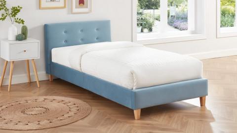 Lit enfant avec tête de lit capitonnée en velours bleu - sommier à lattes 90x190cm - Collection Milo