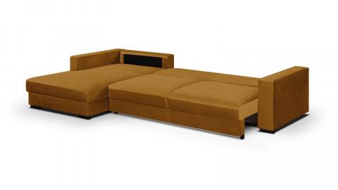 Canapé d'angle gauche convertible 5 places en velours jaune moutarde avec coffre de rangement - Collection Robin