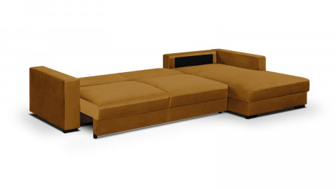 Canapé d'angle droit convertible 5 places en velours jaune moutarde avec coffre de rangement - Collection Robin