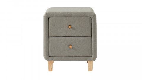 Table chevet en tissu gris clair - 2 tiroirs - Collection Milo