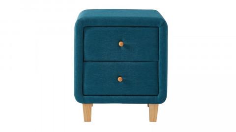 Table chevet scandinave en tissu bleu canard - 2 tiroirs - Collection Milo