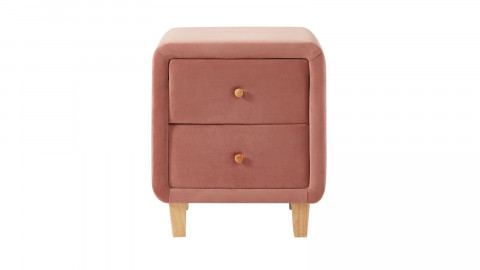 Table chevet scandinave en velours rose blush - 2 tiroirs - Collection Milo