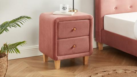 Table chevet en tissu rose poudré - 2 tiroirs - Collection Milo